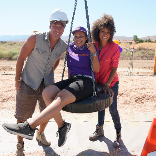 Extreme Makeover: Home Edition - Ty Pennington, Lysa Ratliff, and Breegan Jane play on a tire swing